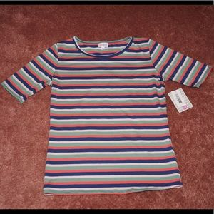 LuLaRoe Gigi in green, navy, pink and taupe stripe